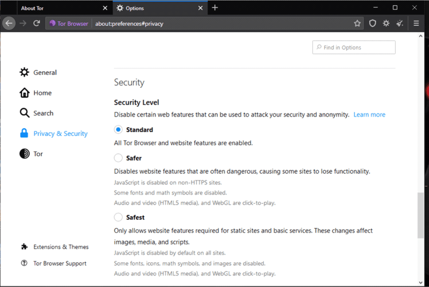 Tor-Security Privacy Settings
